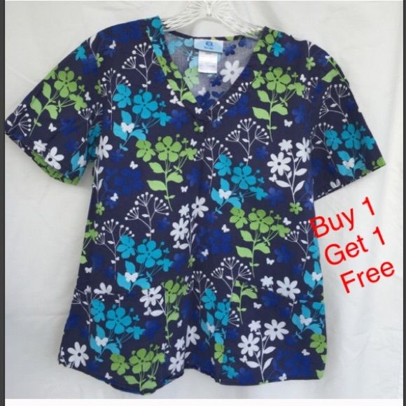 SB Scrub top Great condition. Buy 1 get 1 free all items tagged buy 1 get 1 free, equal or less value. You must tag me the free item before purchase. If you make an offer for a lower price than listed you do not qualify for a free item. SB scrubs Tops