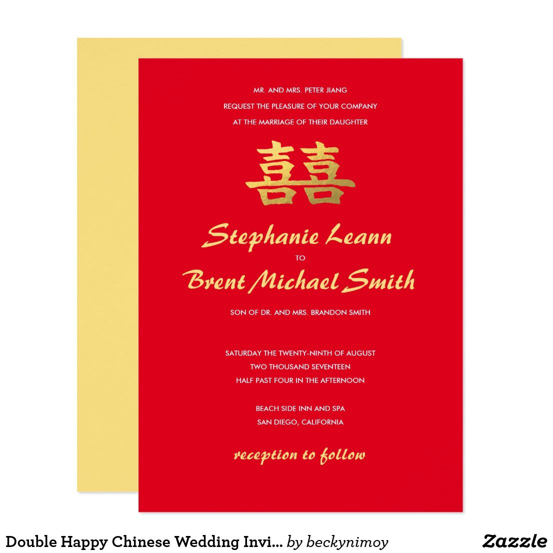 Double Happy Chinese Wedding Invitation Red Gold | Faire part ...