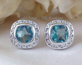 Designer Inspired Blue Topaz Cubic Zirconia Earrings Kelann