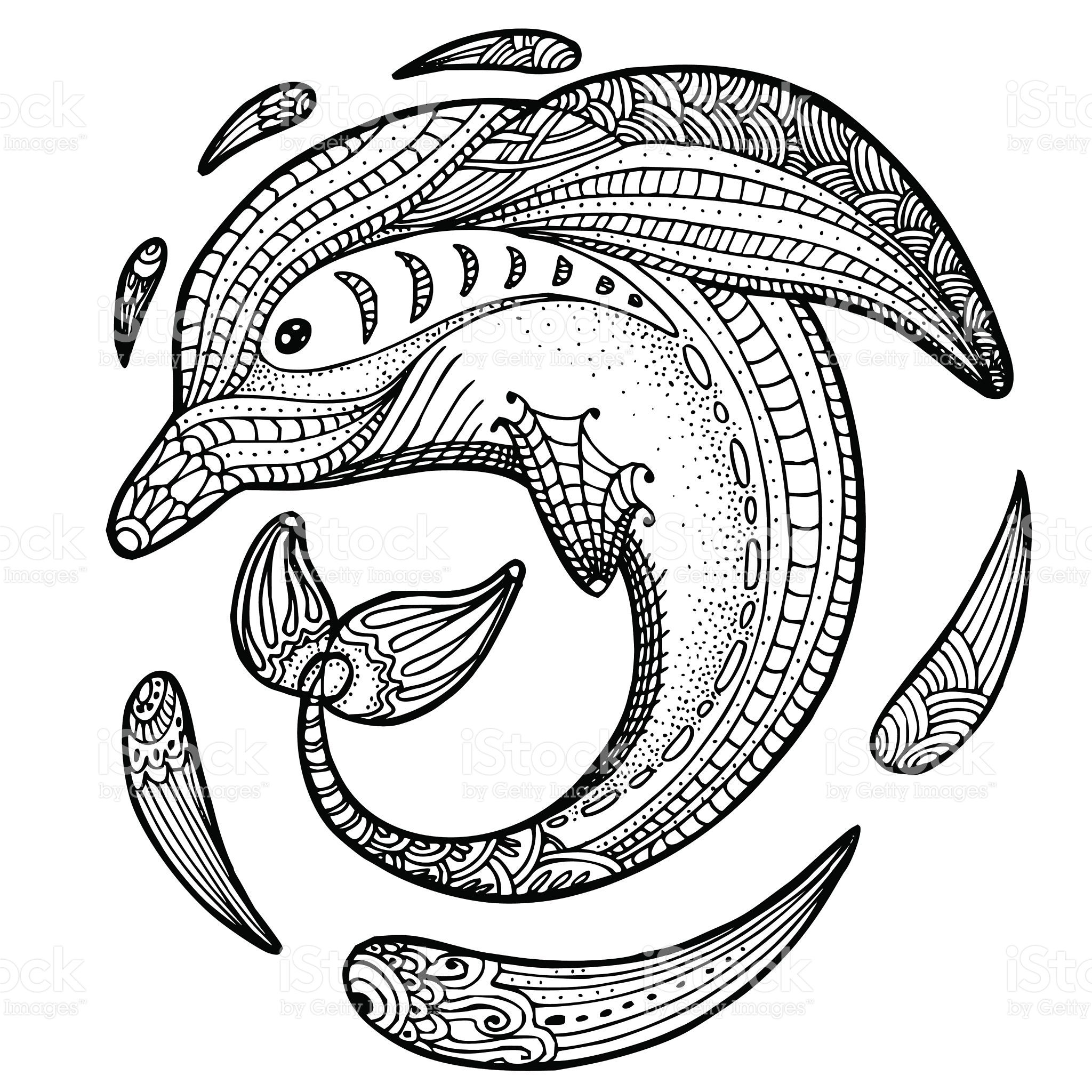 stylized image of totem animal. Dolphin | Delfines y Animales