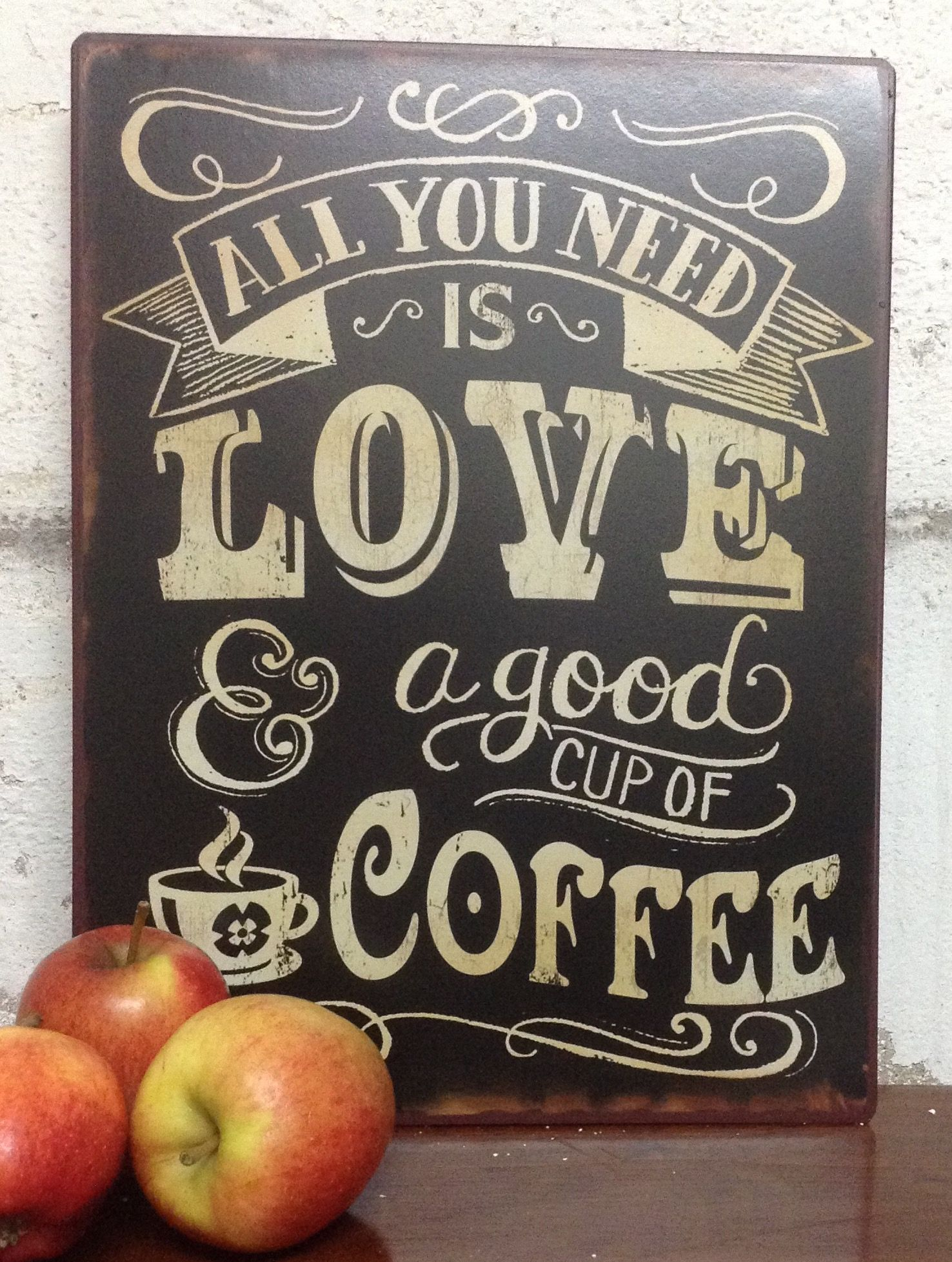 Tin Wall Plaques All You Need Is Love & A Good Cup Of Coffee Tin Wall Plaque