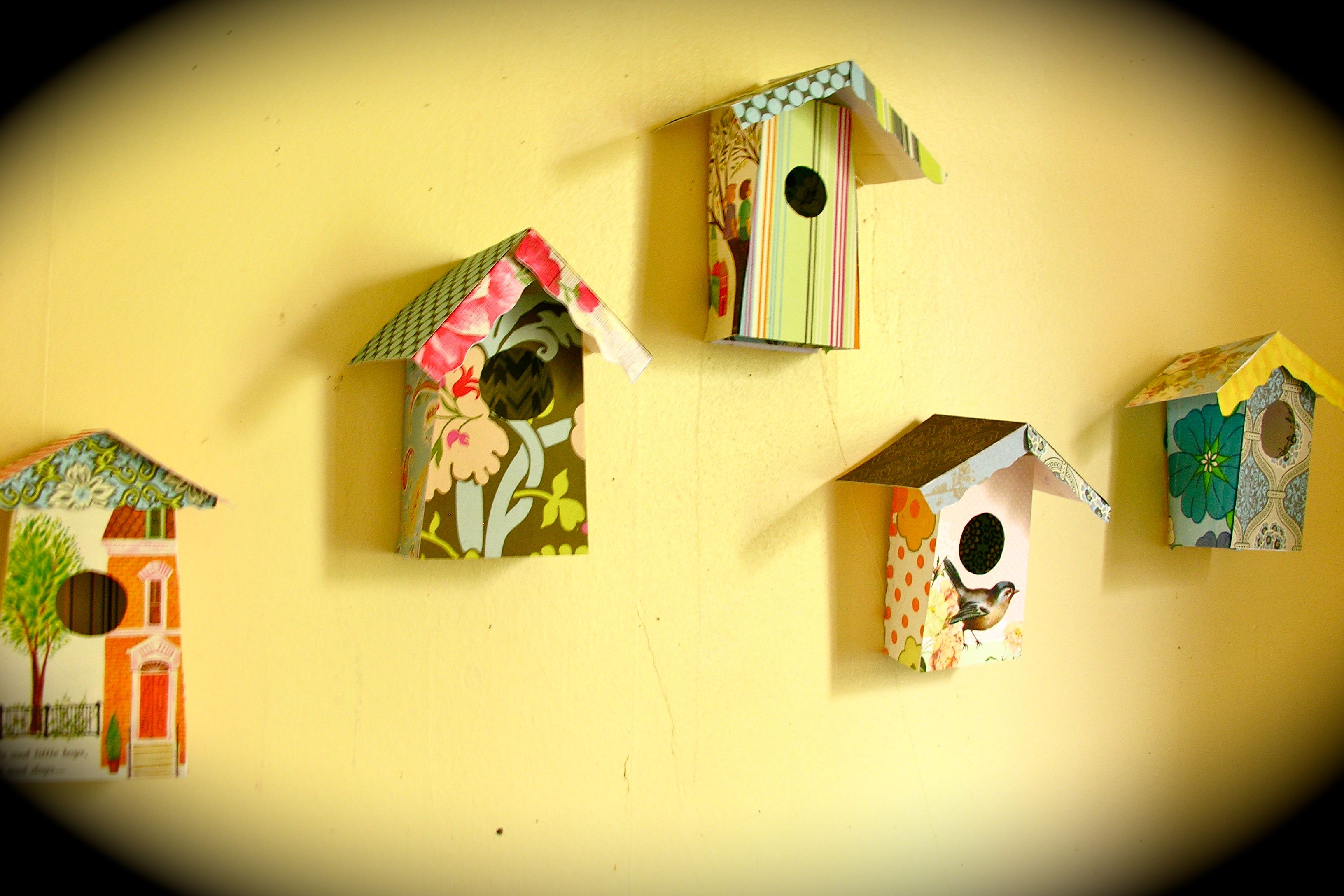 little bird houses made from cardstock and scrapbooking paper and ...