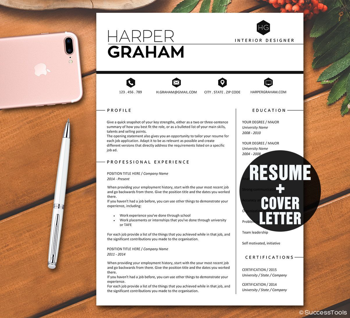 2 page resume template instant download professional
