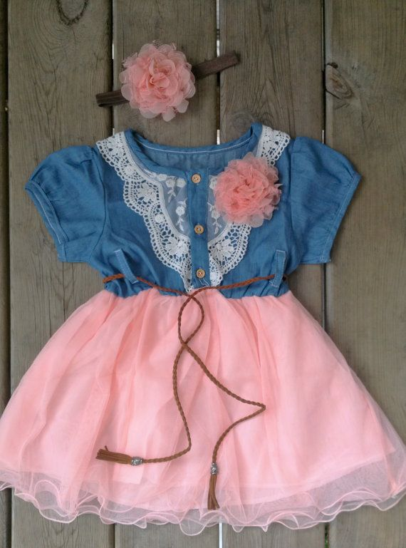 SALE Western Tutu Dress And Headband Set Denim Rustic Cowgirl Flower Girl Pink Toddler Theme Birthday
