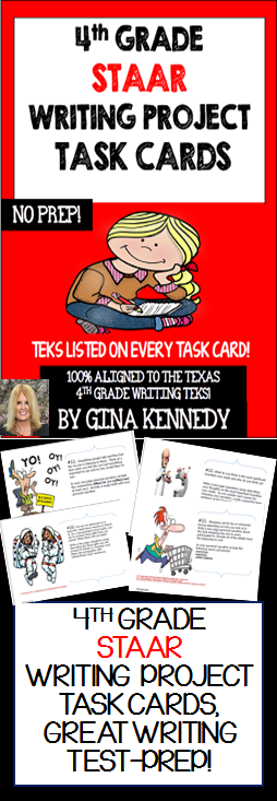 """With the """"4th Grade STAAR Writing Project Task Cards"""" your students will be provided with twenty-five writing projects that are directly aligned to the 4th Grade Texas Writing TEKS. Each project includes a fun and creative expository or narrative writing prompt with follow-up directions for the students to incorporate specific writing TEKS into the projects. The task cards are perfect for advanced learners, early finishers or whole class fun. Laminate, bundle and you have the perfect....$"""
