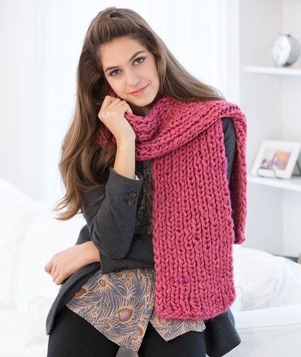 Mondo Ribbed Scarf Free Knitting Pattern in Red Heart ...