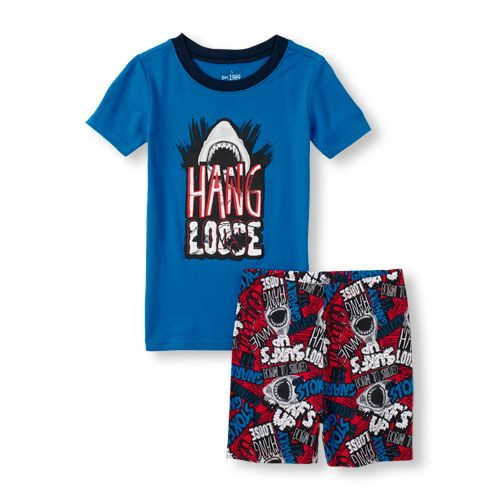Baby Boys Boys Short Sleeve  Hang Loose  Shark Graphic Top And Shorts Pajama  Set - Blue - The Children s Place e81bc86ff