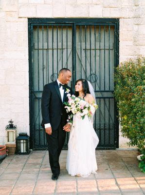 """{    SPANISH MISSION TEXAS WEDDING    } .... """"Dana and Donte may just be the most picture-perfect couple, and their intimate, backyard wedding under the warm Texas sky has us spellbound! The couple searched high and low for their perfect venue and luckily found a Spanish Mission as a rental home, and the rest, as they say, is history! Though bringing in each and every item for a wedding is a daunting task, Wedfully Yours (where the bride is a lead coordinator).."""""""