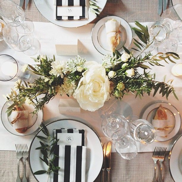 black & white striped napkins with green accents simple and beautiful #events #weddings