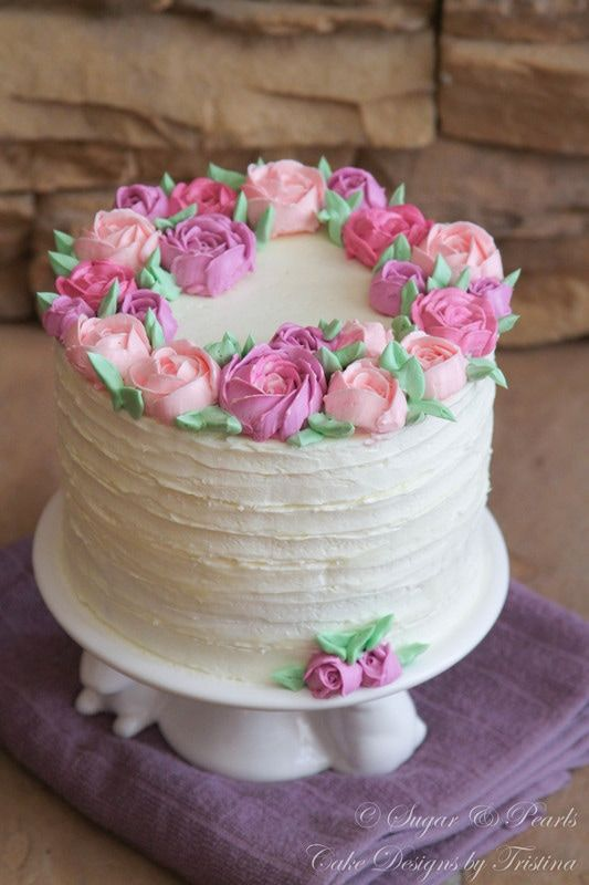 Buttercream Rose Cake Pretty Birthday Cakes Birthday Cake For Women Elegant Birthday Cake For Mom