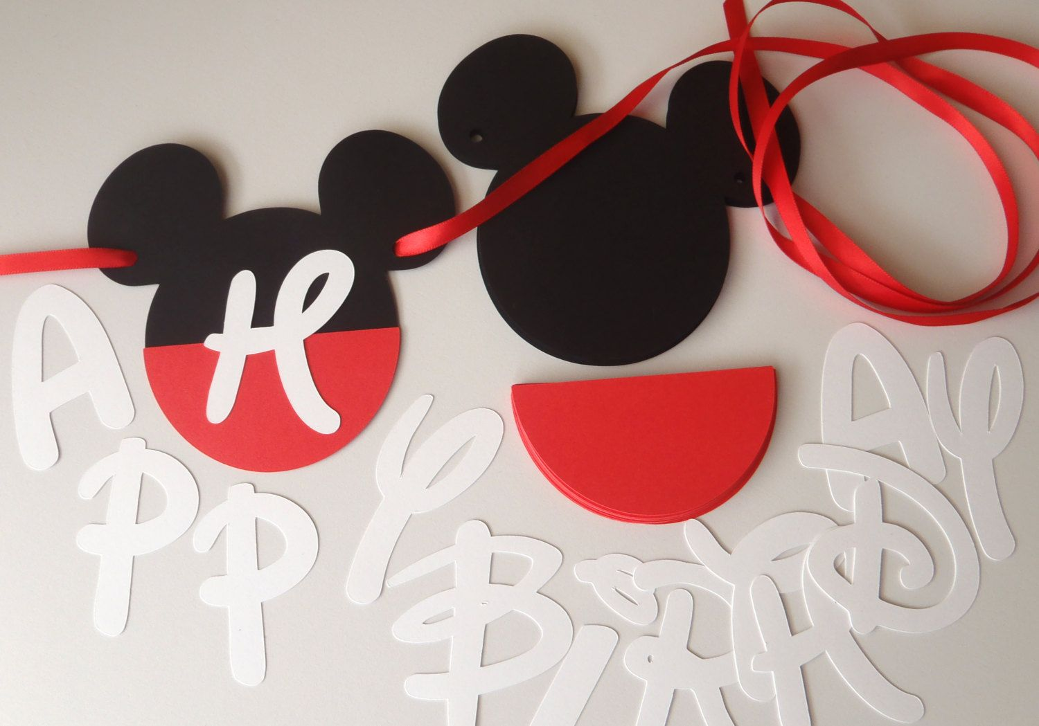 Diy mickey birthday banner kit with fancy font and optional custom do it yourself and save with this do it yourself mickey mouse ears solutioingenieria Gallery