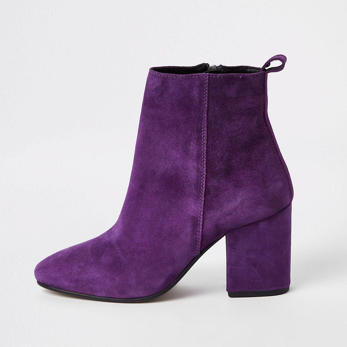 Purple suede block heel boots | Suede