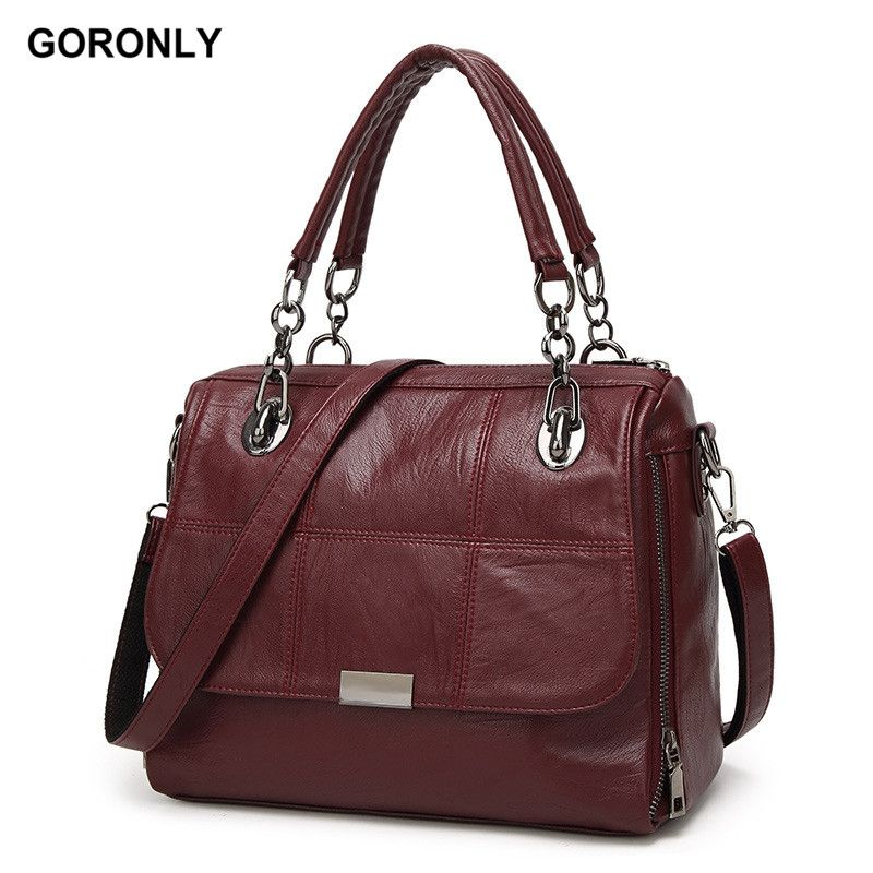 fad62ed616c1 GORONLY Brand Vintage Leather Chains Handbags Women Designer High Quality Shoulder  Bags Fashion Purses Ladies Crossbody Bag-in Top-Handle Bags from Luggage ...