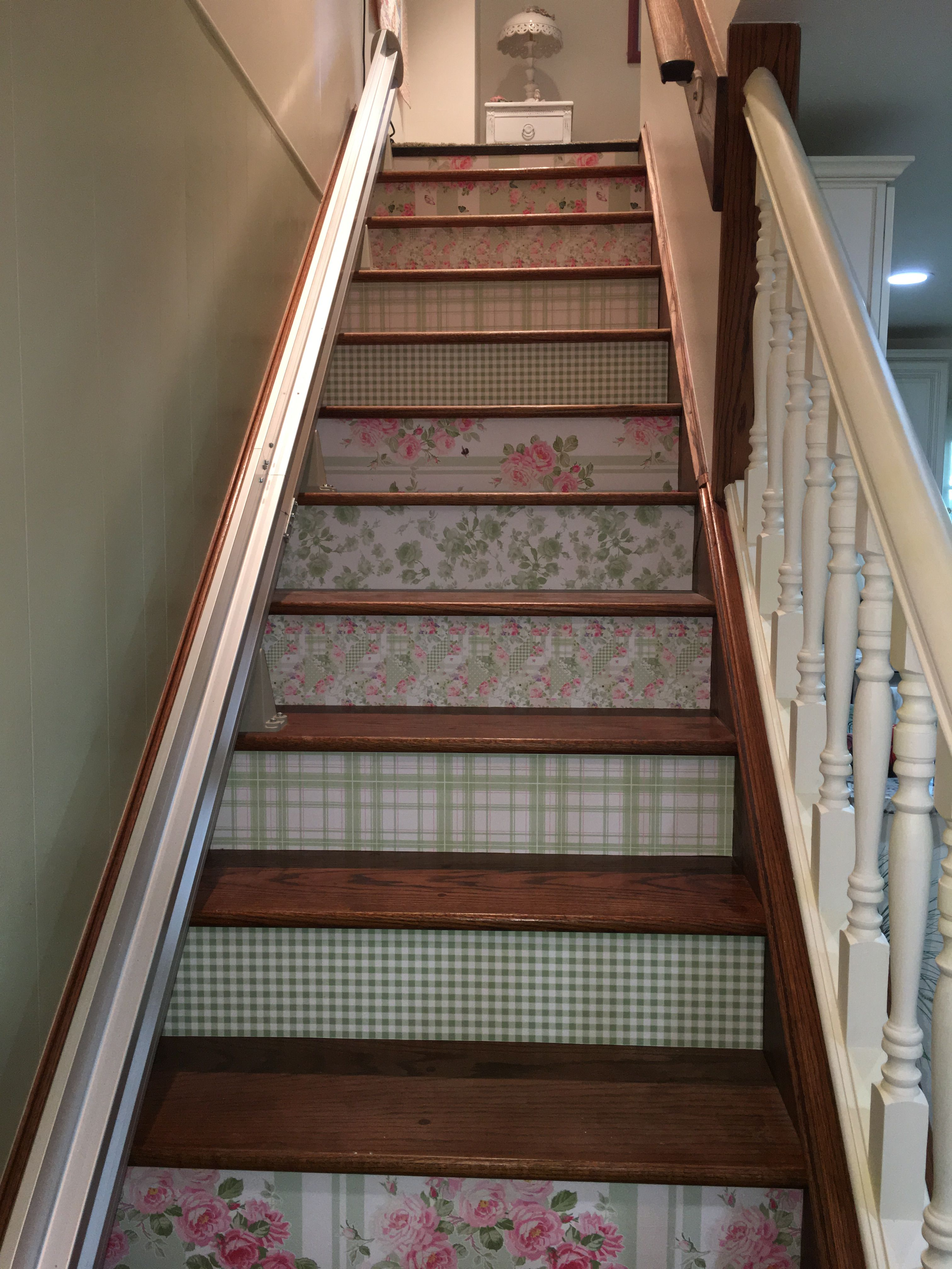 Quick Update To Stair Treads With Peel And Stick Wallcovering