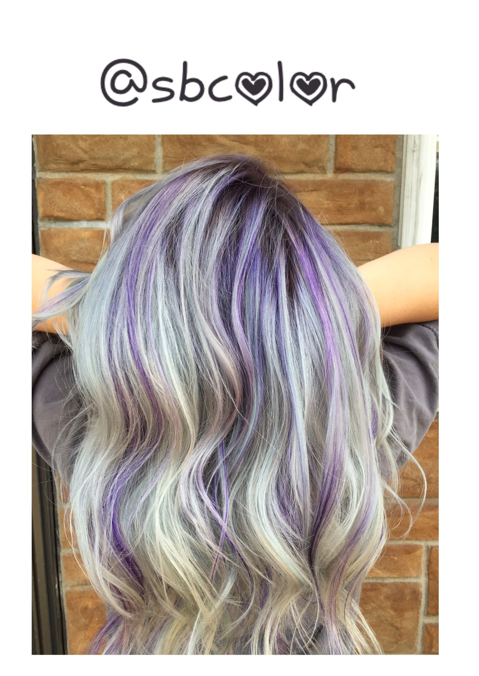 Platinum Blonde With Purple Highlights Purple Highlights Blonde