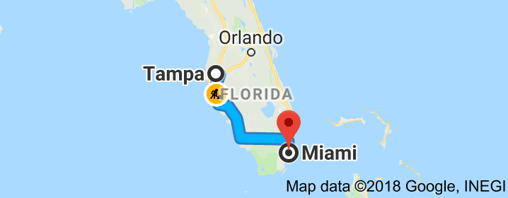 Map from Tampa Florida USA to Orlando Florida USA