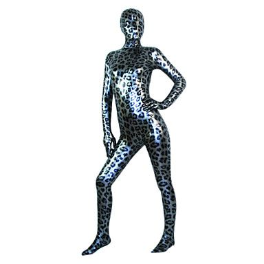 Black and Silver Leopard Shiny Metallic Full body Zentai