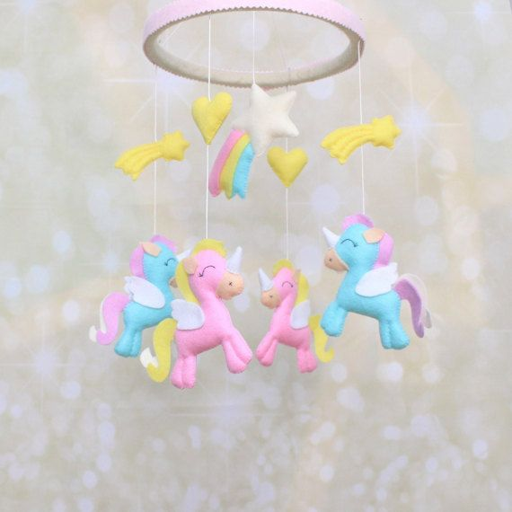 Popular Items For Nursery Decor On Etsy Baby Shower: Felt Unicorn Crib Mobile Unicorns Nursery By