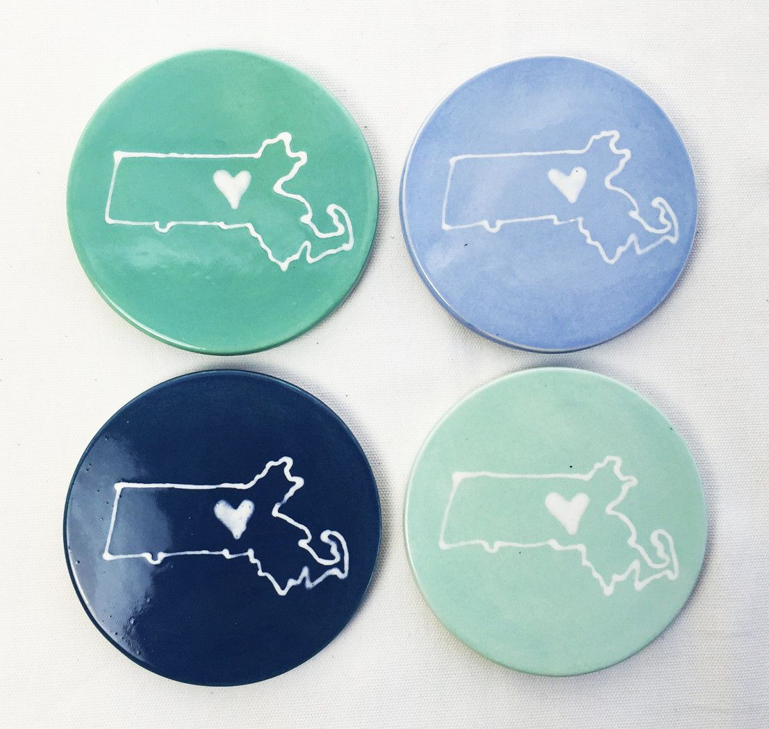 Ceramic coasters celebrating Massachusetts love. Glazed in pretty pastel colors. Made in Maine.
