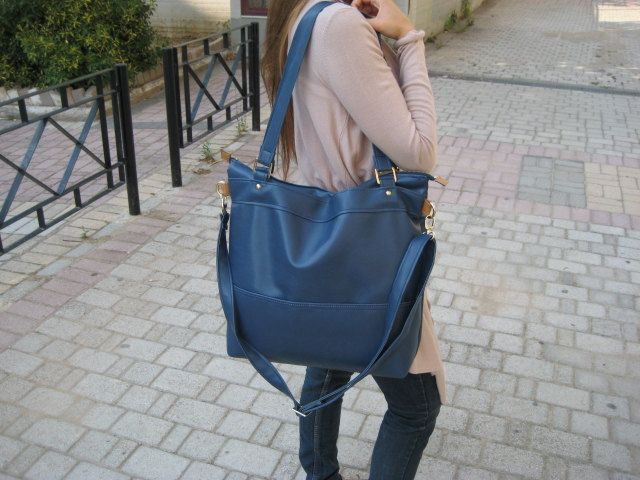 10% SALE /Handmade leather (vegan) tote handbag in navy blue/ Blue ...