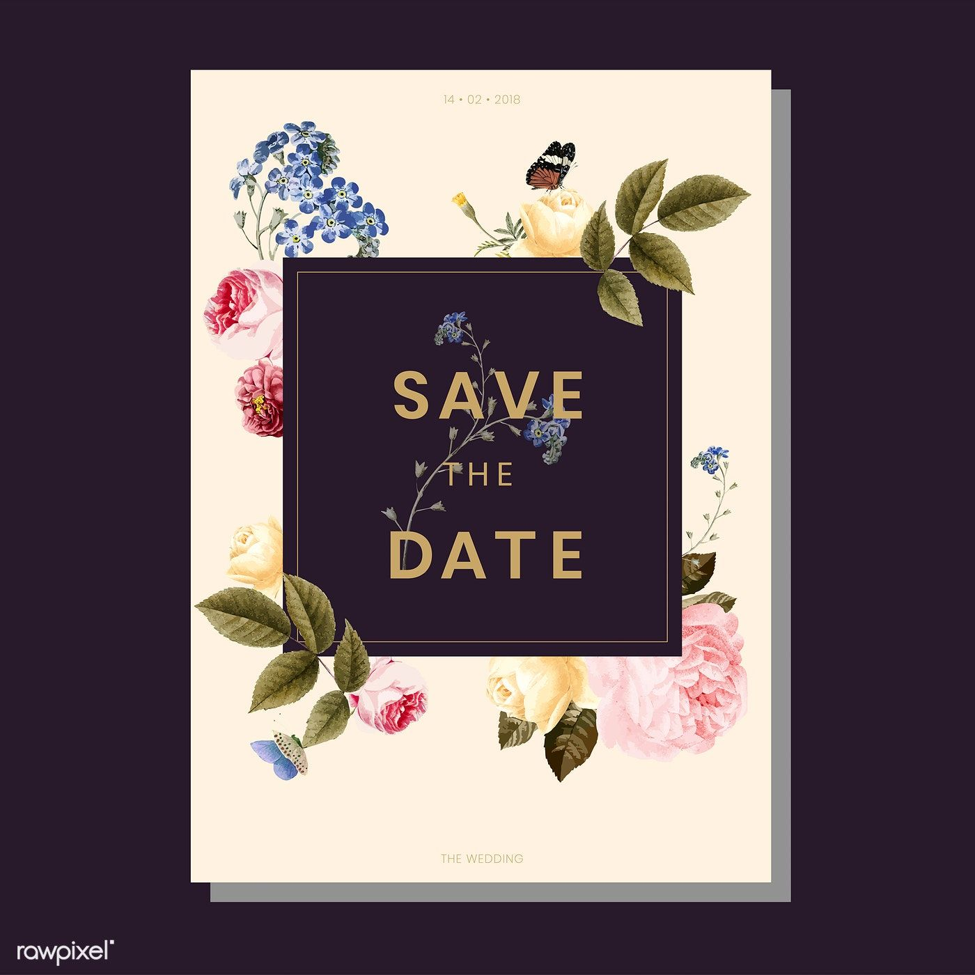 Download premium vector of Save the date wedding
