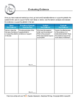 Literacy Ta Evidence Table Template For Literary Analysis  Common