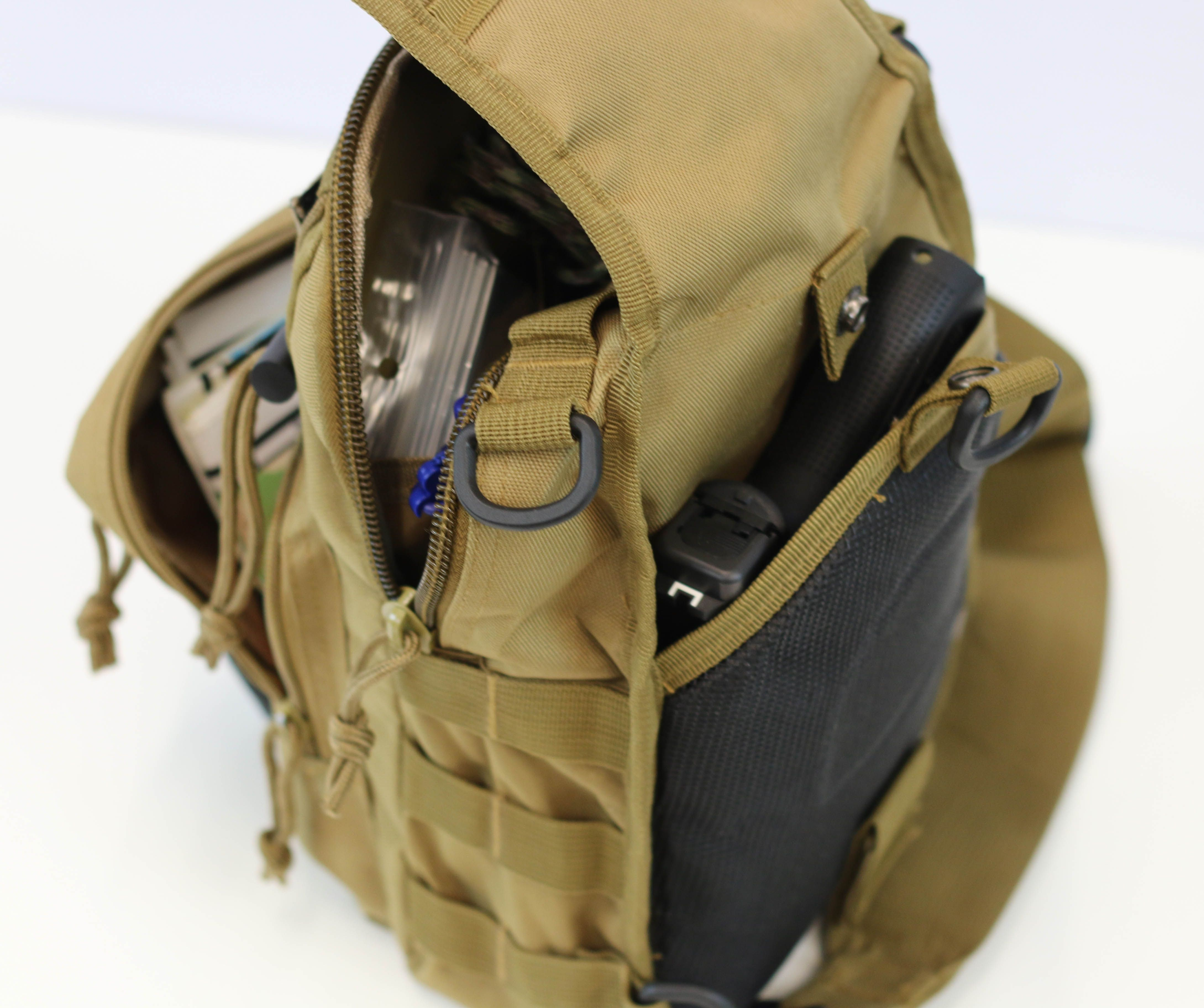 Tactical Sling Bag with MOLLE System - Carry conceal in back pouch ...