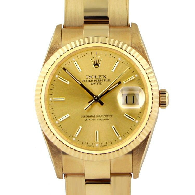 the oyster perpetual date watch by rolex in stainless steel and the oyster perpetual date watch by rolex in stainless steel and 18k gold champagne dial