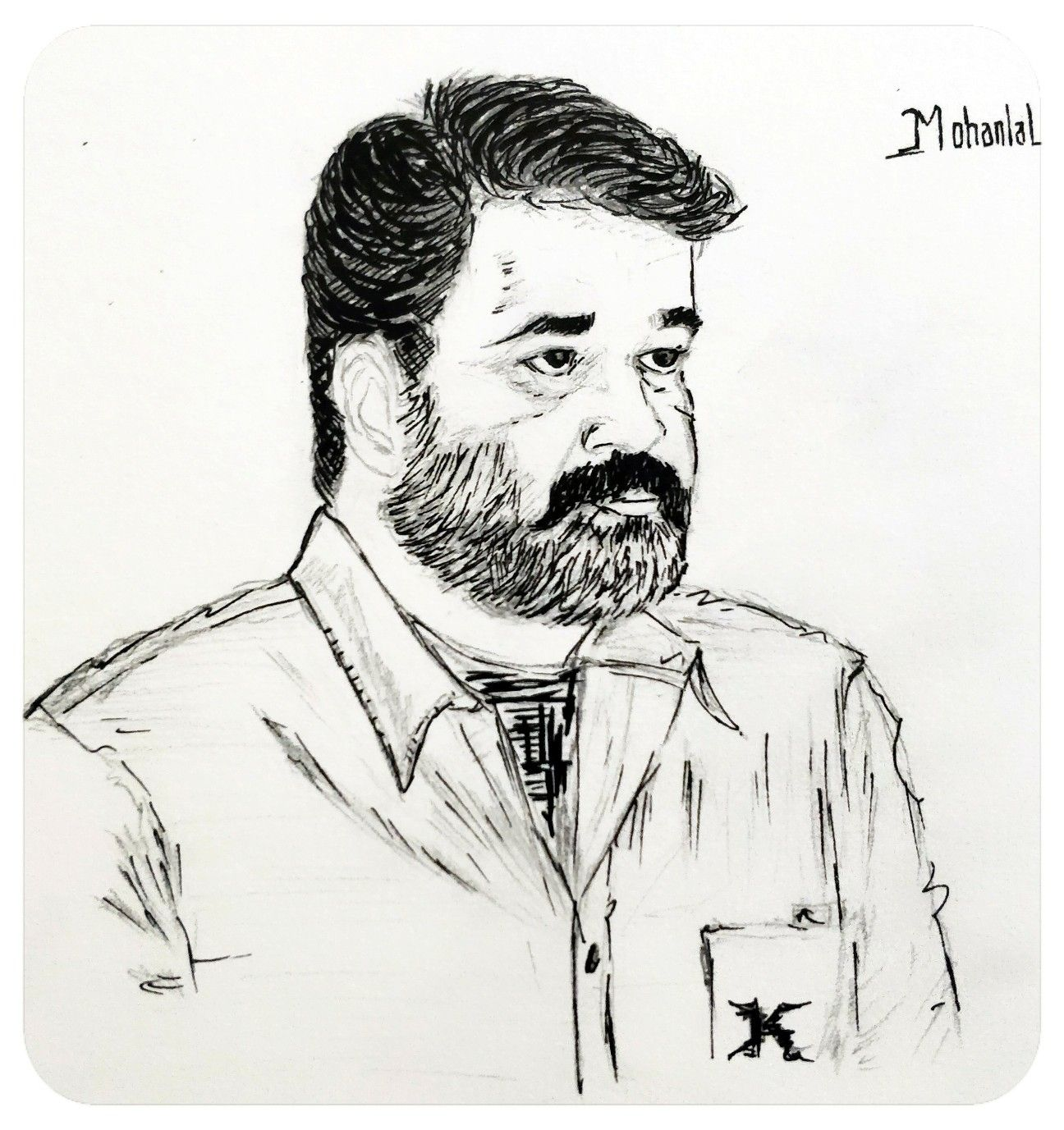 Mohanlal drawing pencil sketch
