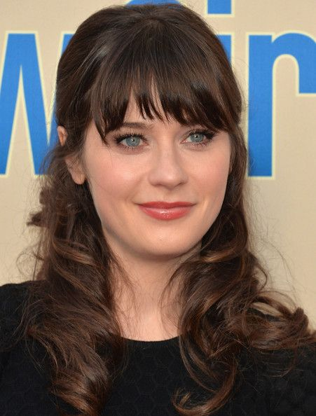 Zooey Deschanel Half Up Half Down Womens Hairstyles Hair Styles Short Hair Styles