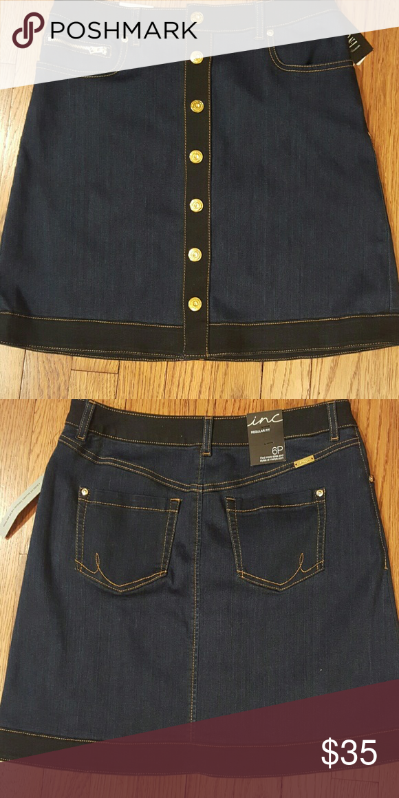 ddbc80dca44f2 INC Petite denim skirt Button front w  gold hardware INC International  Concepts Skirts Mini