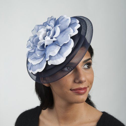 5744C - FLOWR/CRINOLINE Fascinator Cocktail Hat with Comb - Navy/White KaKyCo, To BUY or SEE just CLICK on AMAZON right here http://www.amazon.com/dp/B00FN6OM6Y/ref=cm_sw_r_pi_dp_v32ttb0MH1PVN7M6