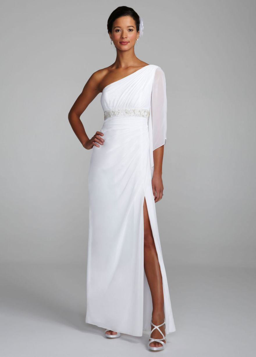 one shoulder beaded empire waist gown style to be
