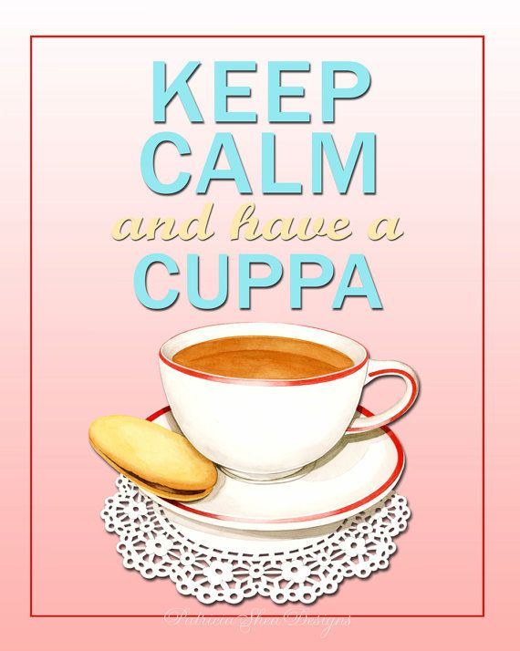 Free shipping November 8 ONLY with this code NOVEMBER8 Keep Calm and Have a Cuppa pink poster by #PatriciaSheaDesigns