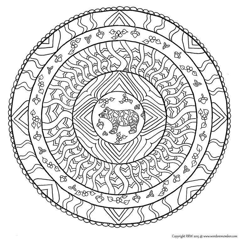 Animal Mandala Coloring Page Bear Mandala Instant PDF