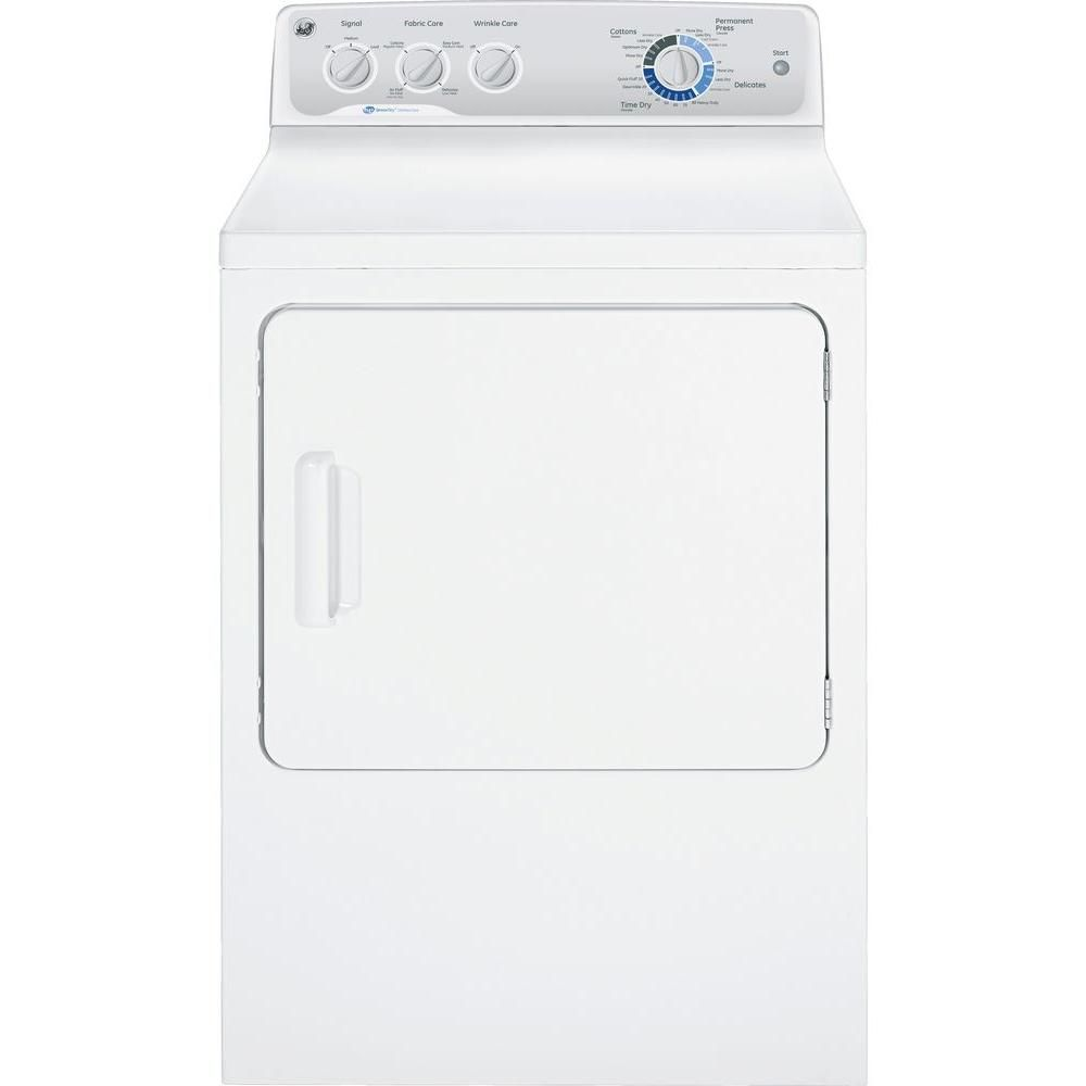 Ge 7 0 Cu Ft Capacity Duradrum Electric Dryer With He Sensordry In White Gtdp490edws Gas Dryer Clothes Dryer Cool Things To Buy