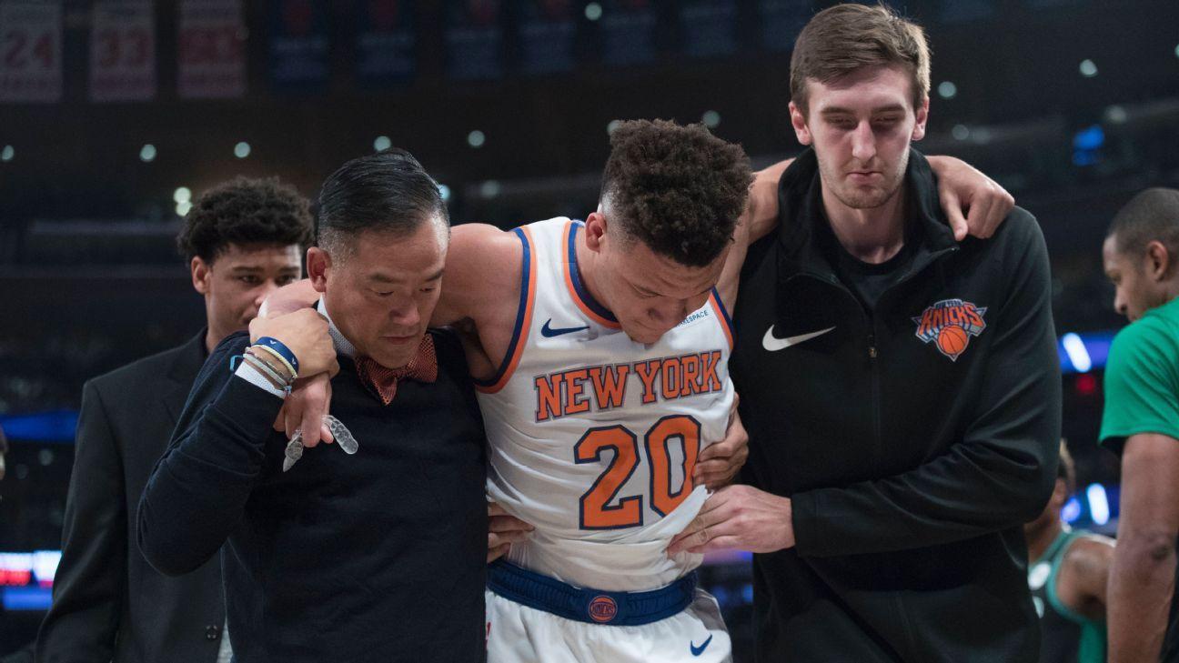 Knicks rookie Knox (ankle sprain) to miss week Sprained