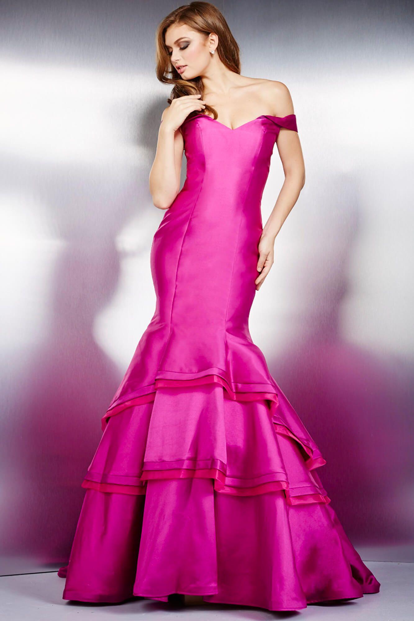 Debajo del hombro vestido en rosado fuerte #Jovani 31100 | Vestidos ...