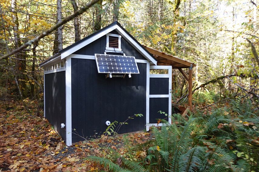 a solar storage shed going off the grid has never looked better than this little storage shed a pergola and custom roof pitch take this garden shed to the - Garden Sheds Oregon