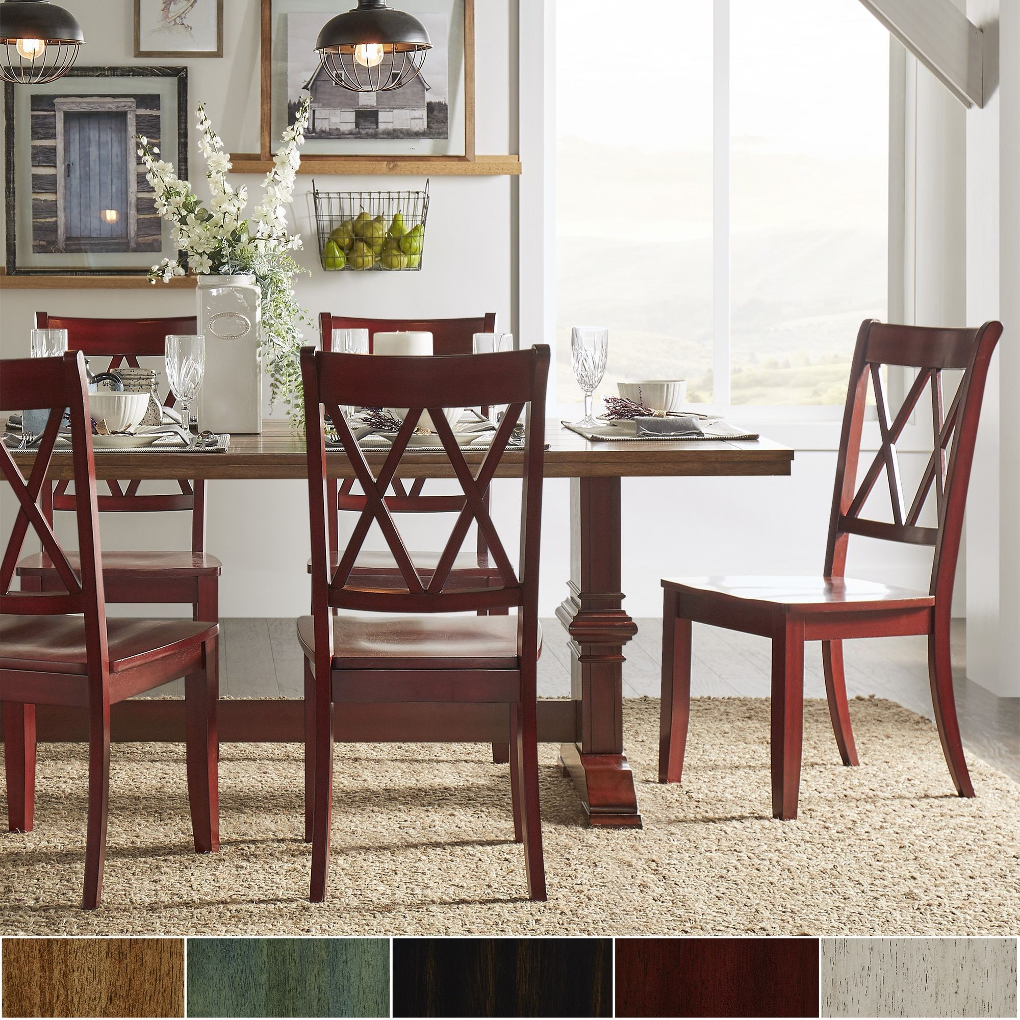 Eleanor Oak and Berry Red Farmhouse Trestle Base Piece Dining Set