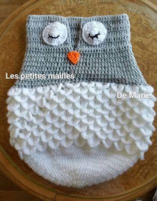 les petites mailles de marie nid d 39 ange chouette taille naissance 3 mois b b crochet. Black Bedroom Furniture Sets. Home Design Ideas