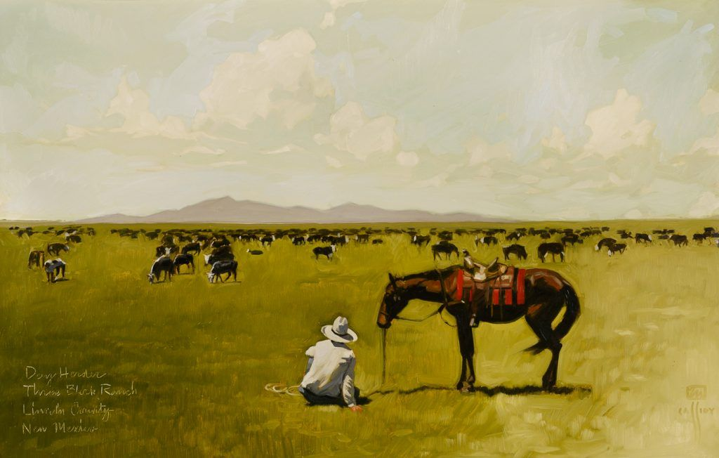 """Michael Cassidy (born 1958), The Day Herder, 33.5x53"""", o/c"""