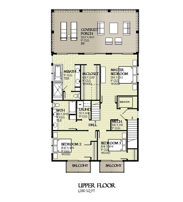 Beach Style House Plan 4 Beds 3 Baths 2810 SqFt Plan 901114 – Coastal Style Home Floor Plans