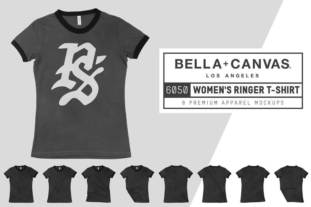 Download Bella Canvas 6050 Women S Ringer Tee Bella Canvas Clothing Mockup Scene Creator
