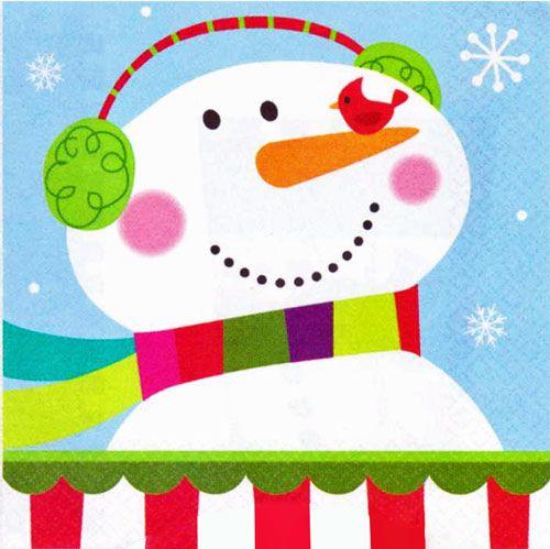 Joyful Snowman Beverage Napkins | Cocktail | Drink | Winter Holiday Party Supplies