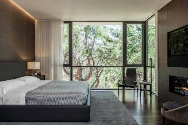 schlafzimmer ideen designer einrichtung kamin holzverkleidung - schlafzimmer gestalten farben