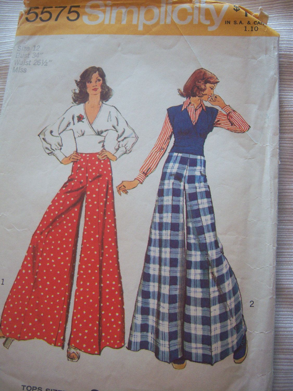 Top and Wide Leg Pants Surplice Neckline Top for by DaisyandErma, $4.00