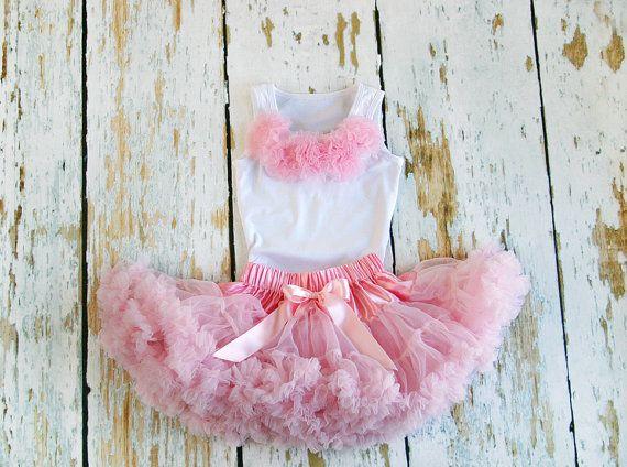 b4b54ad5f58e Pink Pettiskirt - Tutu- Girls First Birthday Outfit Dress - Petti ...