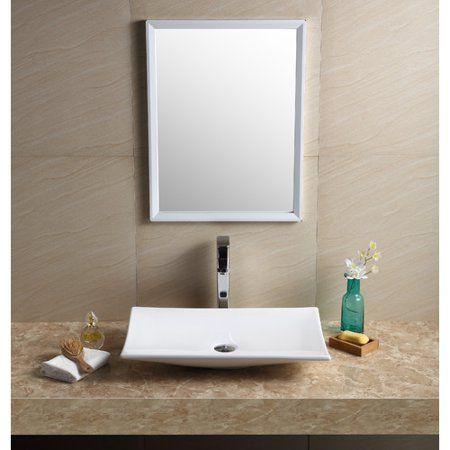 Fine Fixtures Vitreous China Rectangular Vessel Bathroom Sink