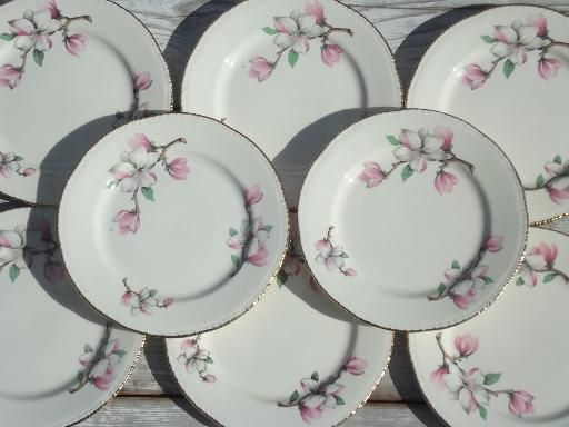pink china patterns | ... Homer Laughlin china plates pink magnolia branch floral : flower pattern dinnerware - pezcame.com